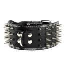 Hunde Lederhalsband mit Spitzen Nieten 7,5cm Breit Weiß M 45-53cm