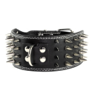 Hunde Lederhalsband mit Spitzen Nieten 7,5cm Breit Weiß L 52-58cm