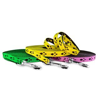 Schleppleine mit Pfoten 15mm Gelb 50m