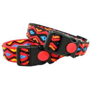 Hundehalsband im Indianer Look 24-34cm 25mm Rot