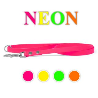 Neon Biothane Hundeleine genietet Neon Rosa 16mm 100cm