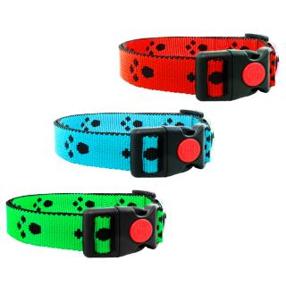Hundehalsband mit Pfoten 20mm Grün 24-34cm