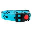 Hundehalsband mit Pfoten 20mm Blau 34-54cm