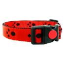 Hundehalsband mit Pfoten 20mm Rot 24-34cm