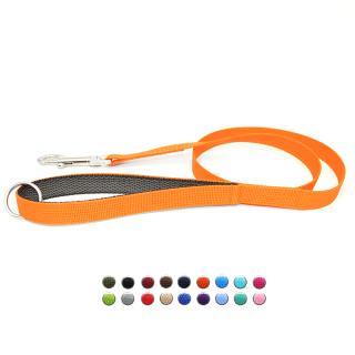 Hundeleine mit Gummierter Handschlaufe Orange
